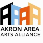 Retired logo of the Akron Area Arts Alliance, four As, side-by-side in black, light blue, orange and buff above the words Akron Area Arts Alliance