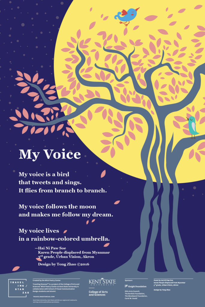 "Poster with the Poem ""My Voice"" from the KSU Wick Poetry Center project Traveling Stanzas"