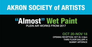 Akron Society of Artists exhibit celebrates painting the outdoors; opens Friday, Oct. 20, with free reception, 5-8 pm; open to the public