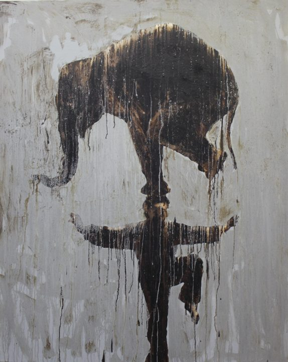 Plan your visit to see this work: Painted with tar on canvas, a photogravure quality pervades with a man balancing an elephant on his head. I know.