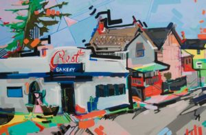 Crest Bakery and surrounding landscape colorfully painted by Lizzi Aronhalt