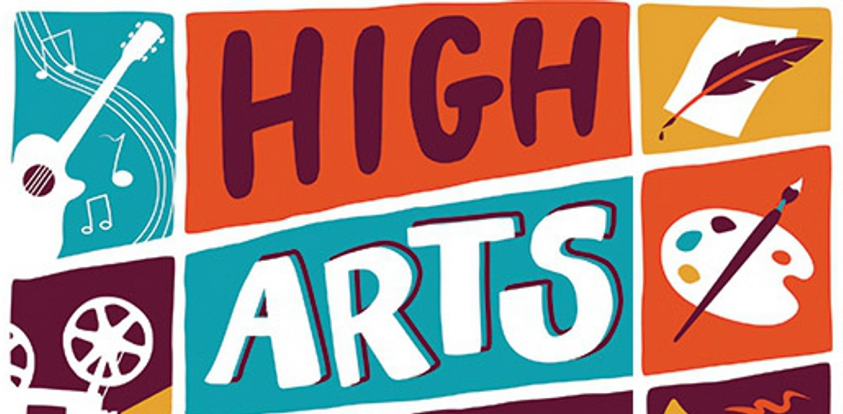 Akron annual High Arts Festival logo with emblems showing music, film, literary arts and visual arts