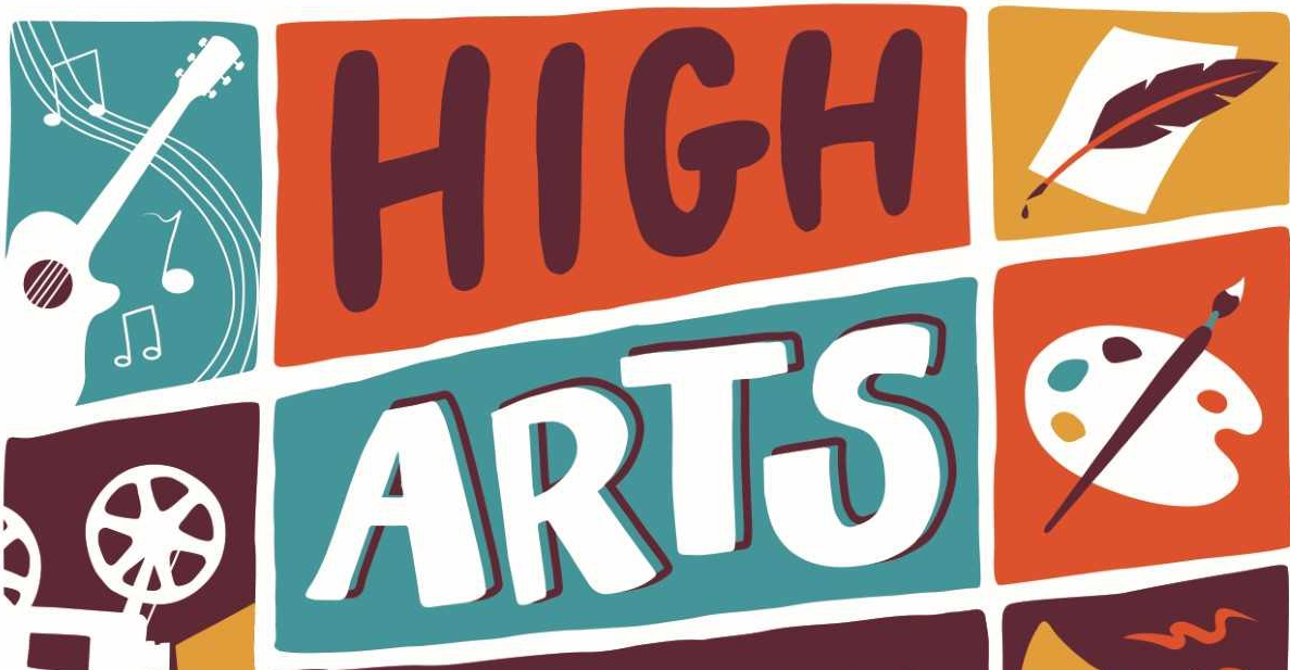 "Logo reads ""High Arts Festival"" for the annual Akron Event with emblems for music, art, writing and film making"