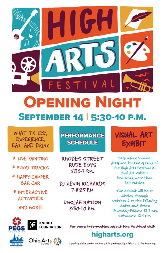 2018 poster for the Akron High Arts Festival Opening