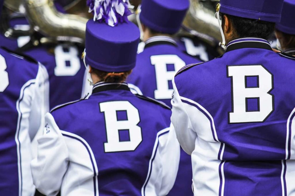The Barberton High School Marching Band as it marches away from the phorographer
