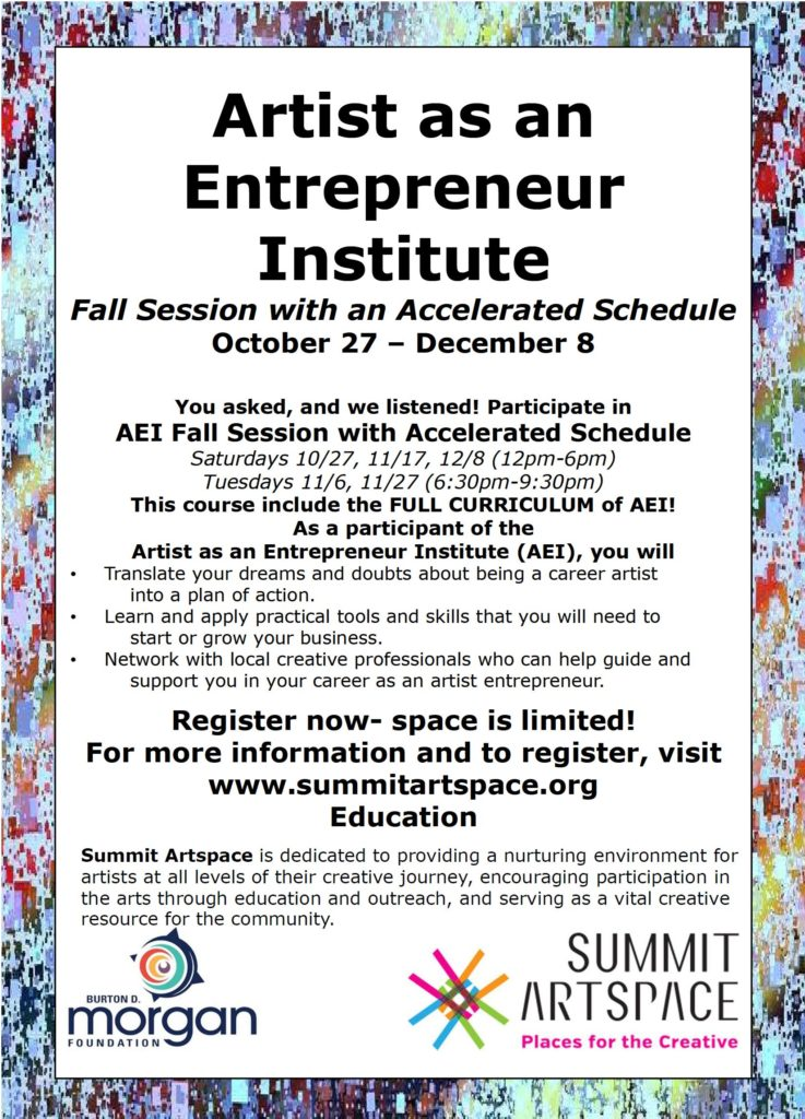 Artist as an Entrepreneur education fall 2018 registration opens
