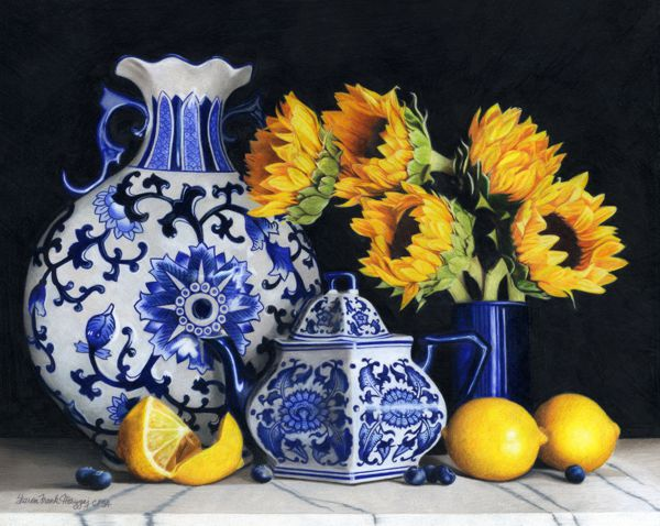 Blue & White Pottery with Sunflowers by Sharon Frank Mazgaj, First Place