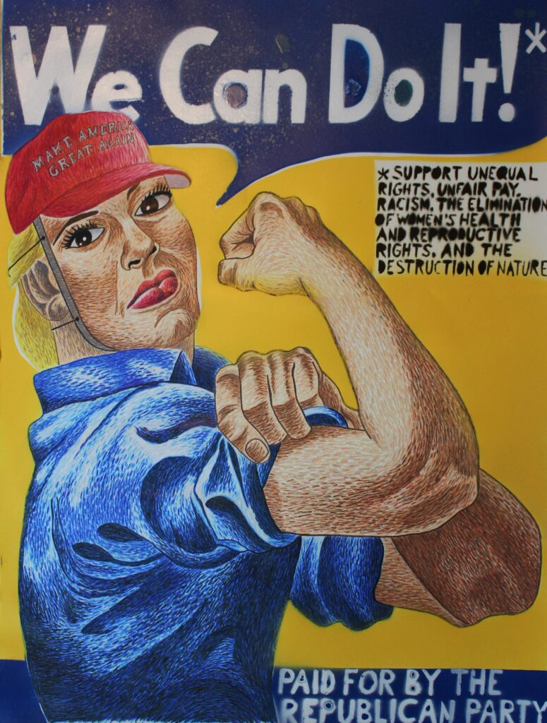 Trump the Riveter by Scott Kraynak, Honorable Mention, color pencil and spray paint